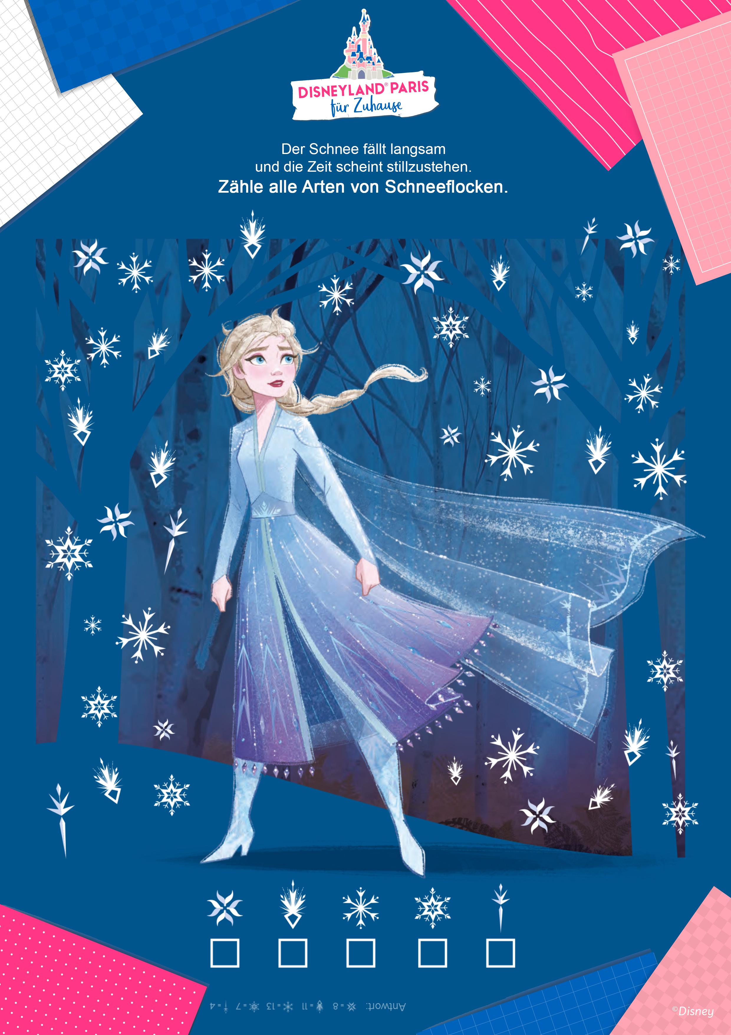 Zähle die Schneeflocken mit Elsa