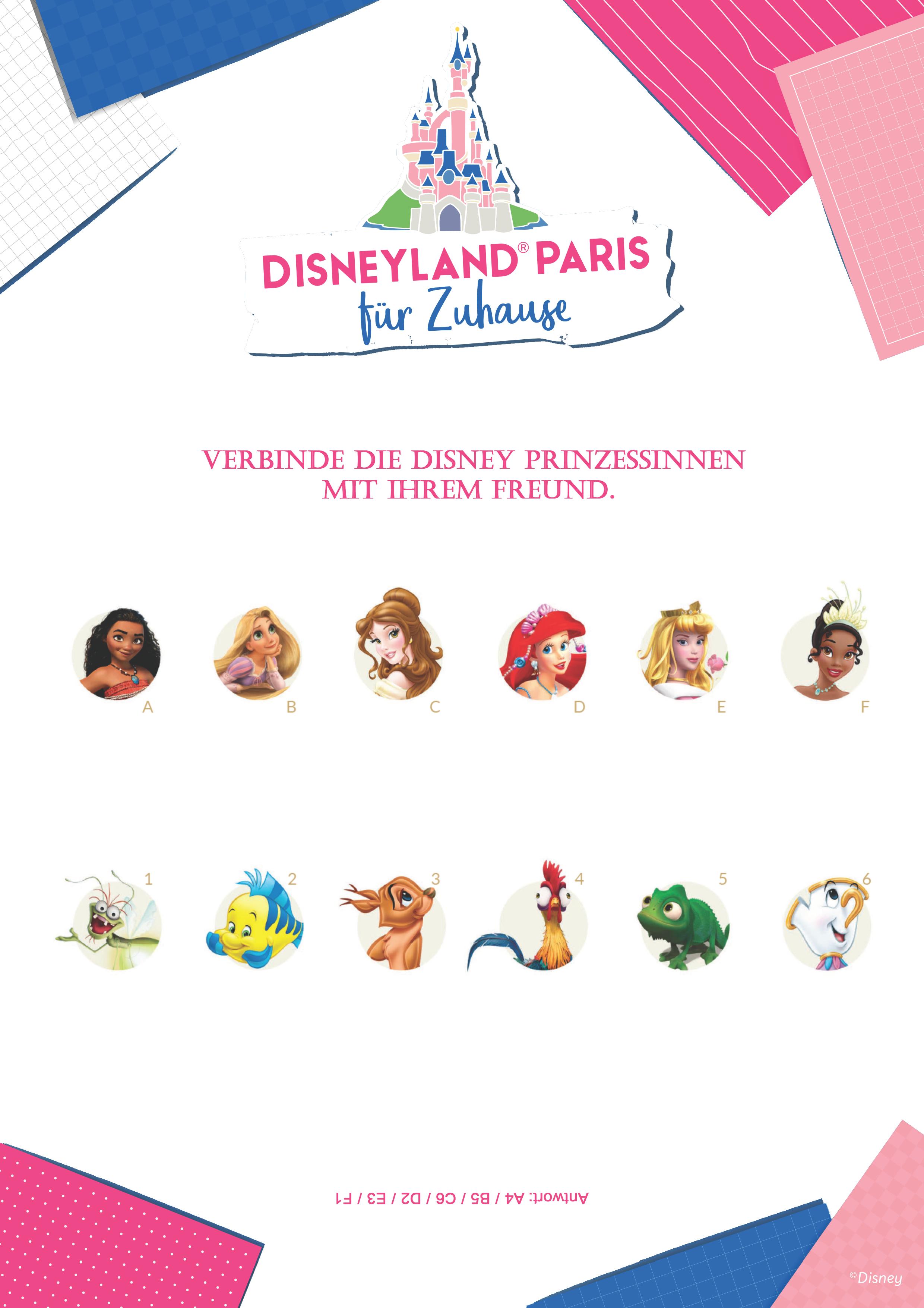 Verbinde die Disney Prinzessinnen mit ihrem Freund (oder sind es mehrere?).