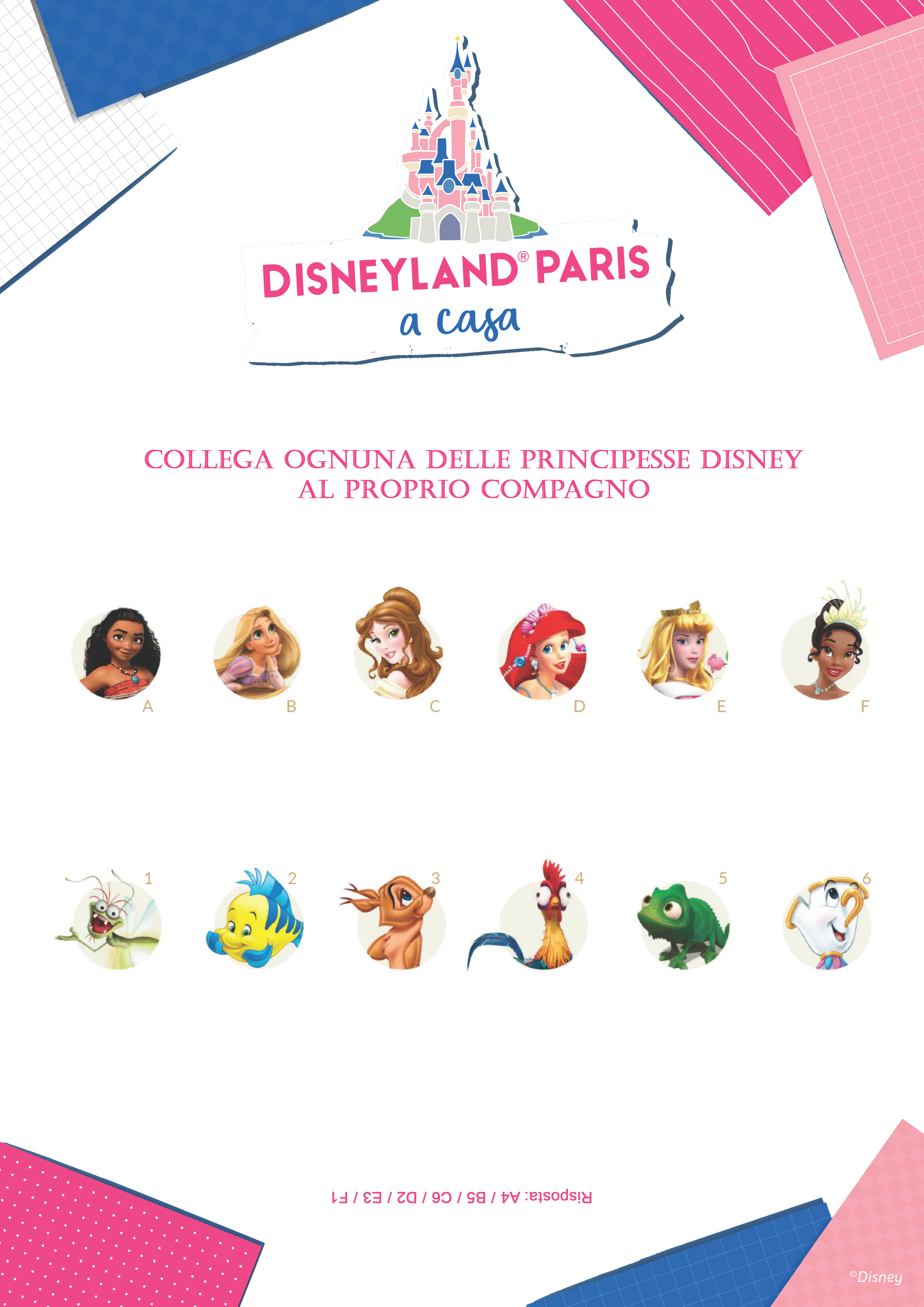 Collega ognuna delle Principesse Disney al proprio compagno